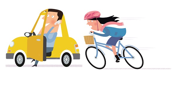 Cartoon of a driver and cyclist