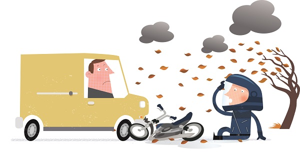 Cartoon of a collision between car and motorcycle