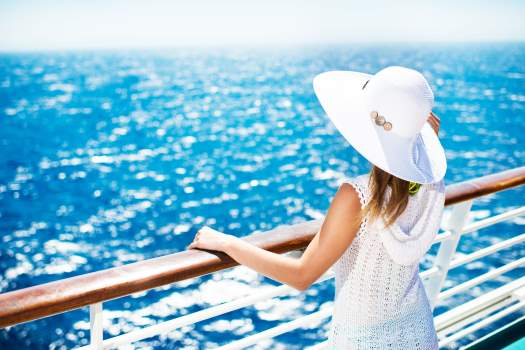 Woman on cruise ship holiday