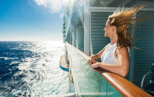 Blond woman on a cruise ship