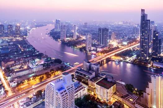 Bangkok skyline at sunset, Thailand