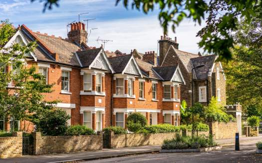 View of Victorian terraced houses in London